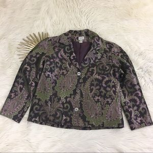 🎄Chicos🎄 Paisley Purple Tapestry Holiday Jacket